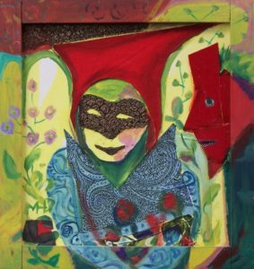 Bild Mensch mit Maske und Blumen